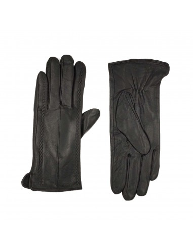 Black Leather Gloves - George Fur &...