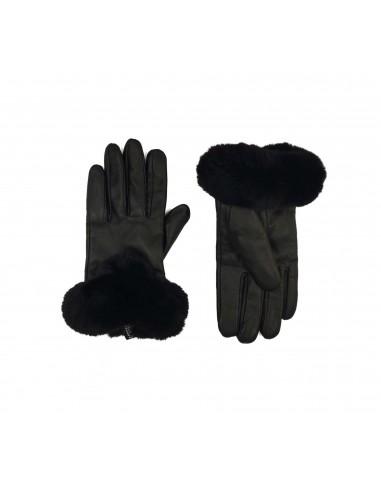 Black Leather Gloves- Konstantinou Furs